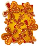 Fondo de la flor en oro rojo ilustración del vector