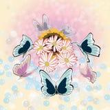 Fondo de la flor y de la mariposa Imagen de archivo libre de regalías