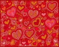 Fondo de la forma del corazón del dibujo en colores rojos al día de tarjetas del día de San Valentín stock de ilustración