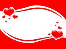 Fondo de la frontera de los corazones de la tarjeta del día de San Valentín de Swoosh Imagenes de archivo