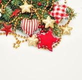 Fondo de la frontera de la Navidad con la decoración Foto de archivo
