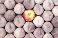 Fondo de la fruta del melocotón y de la manzana Destaqúese en la muchedumbre Fotos de archivo libres de regalías