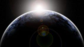 Fondo de la galaxia del extracto de la pintura de Digitaces - amanecer en un horizonte planetario en espacio profundo ilustración del vector