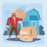 Fondo de la granja de la silueta de la cosecha del saco de Man Hold Wheat del granjero Imagen de archivo libre de regalías