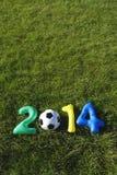 Fondo 2014 de la hierba del mensaje del fútbol del amarillo del verde azul Fotografía de archivo
