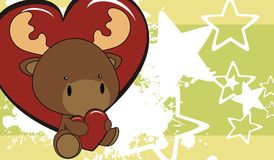 Fondo de la historieta del amor del bebé del reno Foto de archivo libre de regalías