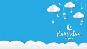 Fondo de la historieta del kareem del Ramadán, concepto de diseño del festival stock de ilustración
