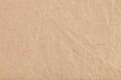Fondo de la hoja del papel de Kraft arrugado Imagenes de archivo