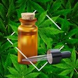 Fondo de la hoja de la marijuana o del c??amo Ejemplo realista del vector de la planta en la visi?n superior ilustración del vector