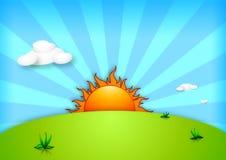 Fondo de la ilustración de la colina de la puesta del sol Imágenes de archivo libres de regalías