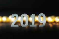 Fondo 2019 de la imagen de la celebración de la Feliz Año Nuevo imagen de archivo