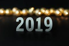 Fondo 2019 de la imagen de la celebración de la Feliz Año Nuevo imagenes de archivo