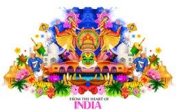 Fondo de la India que muestra su cultura y diversidad stock de ilustración