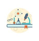 Fondo de la ingeniería química con el icono plano de objetos Imágenes de archivo libres de regalías