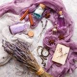 Fondo de la lavanda Tema del balneario y del perfume imágenes de archivo libres de regalías