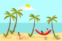 Fondo de la lectura de la playa con las palmas de la arena Hombre independiente, trabajando y mintiendo en la hamaca, la sol y el ilustración del vector
