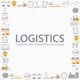 Fondo de la logística, iconos de la logística stock de ilustración