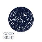 Fondo de la luna y de las estrellas Buenas noches Imagenes de archivo