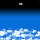 Fondo de la luna y de las nubes Foto de archivo