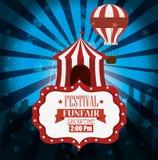 fondo de la luz del airballoon de la tienda del funfair del festival del cartel ilustración del vector