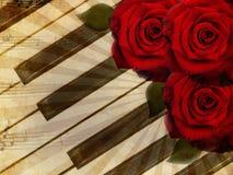 Fondo de la música con las rosas Imagenes de archivo