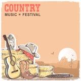 Fondo de la música country con la guitarra y el equipme americano del vaquero stock de ilustración