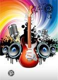Fondo de la música de la guitarra eléctrica Fotografía de archivo libre de regalías