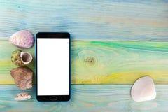 Fondo de la maqueta de las vacaciones del mar del verano Página móvil de la PC de la tableta del smartphone de la venta de la pan Imagen de archivo libre de regalías