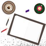 Fondo de la mesa del lugar de trabajo opinión superior del espacio de trabajo con el scatt de los puntos ilustración del vector