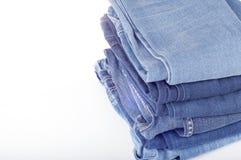 Fondo de la mezclilla azul Textura azul de los pantalones vaqueros del dril de algodón Fondo de los pantalones vaqueros Espacio p Imagen de archivo