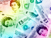 Fondo de la moneda de la libra - arco iris Fotos de archivo