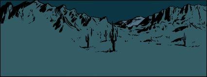 Fondo de la montaña del desierto en la noche ilustración del vector