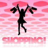 Fondo de la muchacha de compras Fotografía de archivo libre de regalías