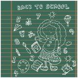 Fondo de la muchacha de la escuela. Iconos de la historieta fijados Foto de archivo