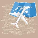 Fondo de la muestra del viaje con el aeroplano y el mapa Fotografía de archivo libre de regalías