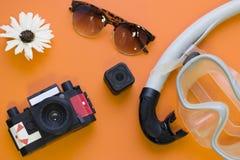 Fondo de la naranja del concepto de la playa Fotos de archivo