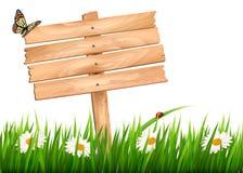 Fondo de la naturaleza con la hierba verde y flores y muestra de madera Foto de archivo libre de regalías