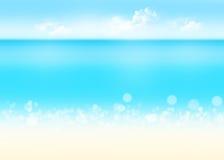 Fondo de la naturaleza del mar, de la arena y del cielo azul
