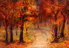 Fondo de la naturaleza de la temporada de otoño Impresionista pintado a mano, paisaje al aire libre ilustración del vector