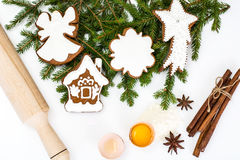 Fondo de la Navidad abstracta y del Año Nuevo con el pan de jengibre Fotografía de archivo libre de regalías