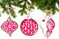 Fondo de la Navidad abstracta y del Año Nuevo con el pan de jengibre Imagen de archivo libre de regalías