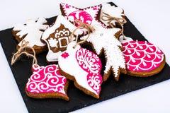 Fondo de la Navidad abstracta y del Año Nuevo con el pan de jengibre Fotografía de archivo