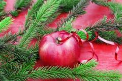 Fondo de la Navidad de Apple rojo en la tabla entre el verde Foto de archivo libre de regalías