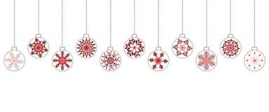 Fondo de la Navidad blanca con las bolas rojas imagenes de archivo