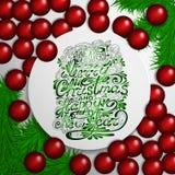 Fondo de la Navidad blanca con las chucherías y el árbol de navidad rojos stock de ilustración