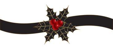Fondo de la Navidad con la cinta y el acebo fotos de archivo libres de regalías