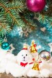 Fondo de la Navidad con la decoración Imagen de archivo