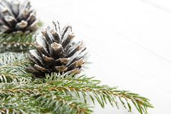 Fondo de la Navidad con la decoración con los conos y las ramitas Fotos de archivo libres de regalías