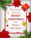 Fondo de la Navidad con la decoración y las letras de la Feliz Navidad stock de ilustración