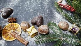 Fondo de la Navidad con el árbol de abeto de la nieve, las nueces y los panes de jengibre Foto de archivo libre de regalías